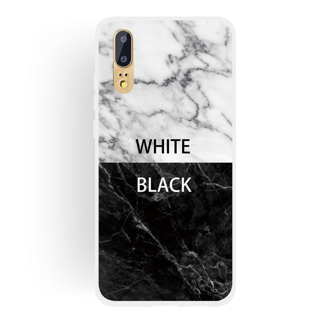 CLASSY Marble Design Soft Silicon Colourful Back Cover for Huawei P20 Lite P30 Pro P 30 Mate 20 Lite