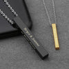 Long Bar Stainless Steel Personalized Vertical Pendant Necklace for Men / Women