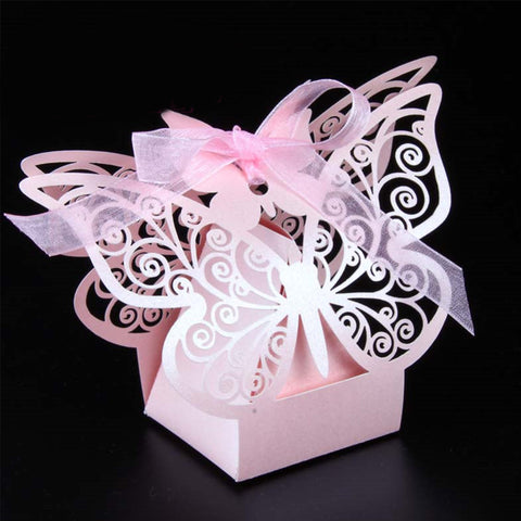 50Pcs Creative Laser Cutting Butterfly Gift Paper Boxes for Party Supplies