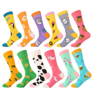 12pairs/Lot Funny Combed Cotton Cartoon Socks