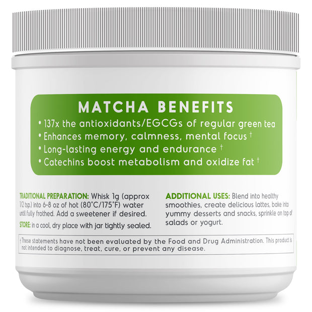 100% Organic & Pure Ceremonial Grade Matcha Green Tea