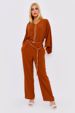 Brown modest jumpsuit