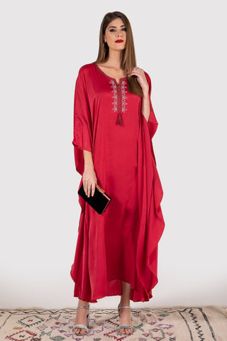 Cherine satin kaftan dress