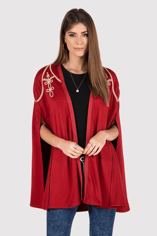 red velour cape jacket