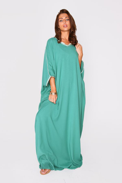 women's long kaftan dress in green