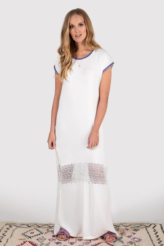 women's short sleeve maxi dress in white