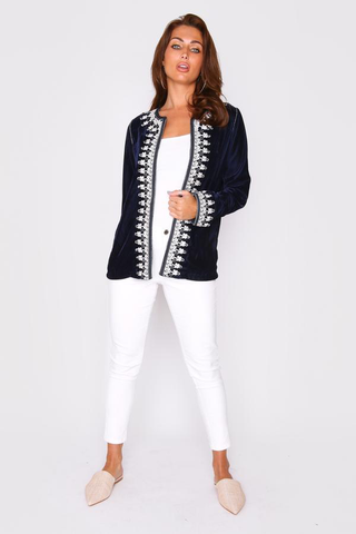 Navy blue velour Moroccan style jacket