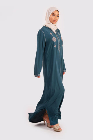 petrol blue hooded djellaba kaftan