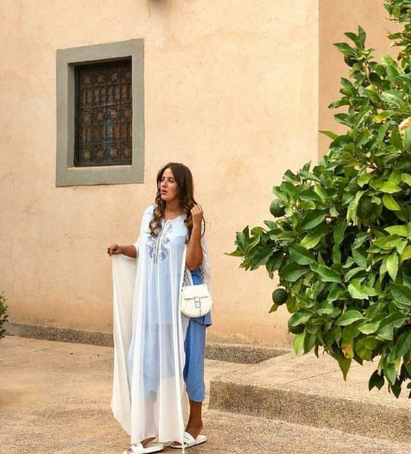 Jabador Marisa Short Sleeve Maxi Length 3-Piece Co-Ord Set In Sky and White