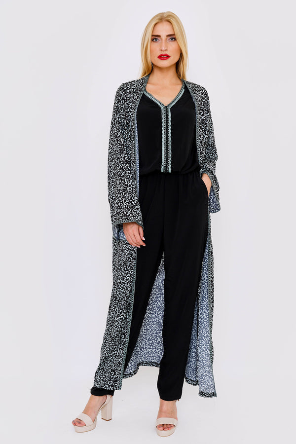 Bella Sleeveless Modest Jumpsuit and Coordinating Duster Jacket Set in Black & Print