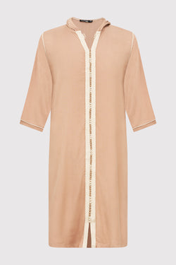 Djellaba Jad Boy's Hooded Long Sleeve Full-Length Robe Thobe in Beige (2-12yrs)