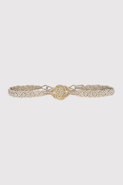 Rania Metallic Braided Rope Waist Belt in Silver