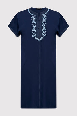Gandoura Hamza Boy's Hooded Collarless Embroidered Robe Thobe in Navy Blue (2-12yrs)
