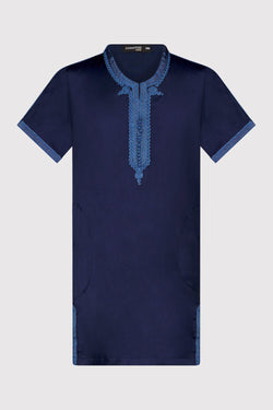 Gandoura Yahya Boy's Short Sleeve Embroidered Collarless Robe Thobe in Navy Blue