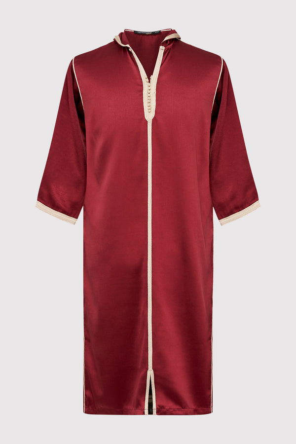 Djellaba Bakir Boy's Contrast Trim Cropped Sleeve Hooded Satin Robe Thobe in Maroon (2-12yrs)