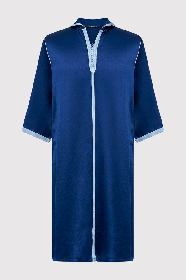 Djellaba Bakir Boy's Contrast Trim Cropped Sleeve Hooded Satin Robe Thobe in Navy Blue (2-12yrs)