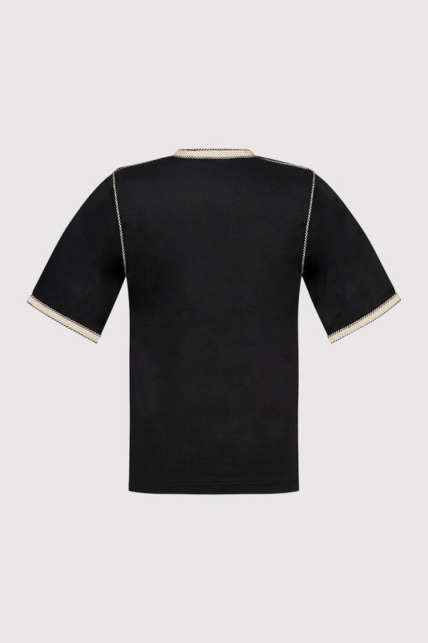 Bilal Boy's Cropped Sleeve Contrast Trim Tunic Top in Black (2-12yrs)