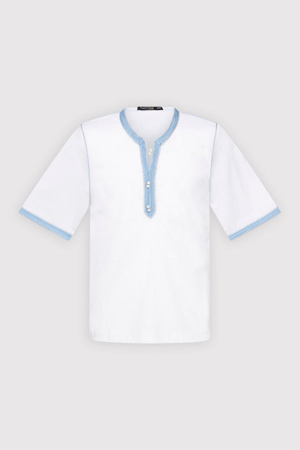 Bilal Boy's Cropped Sleeve Contrast Trim Tunic Top in White (2-12yrs)