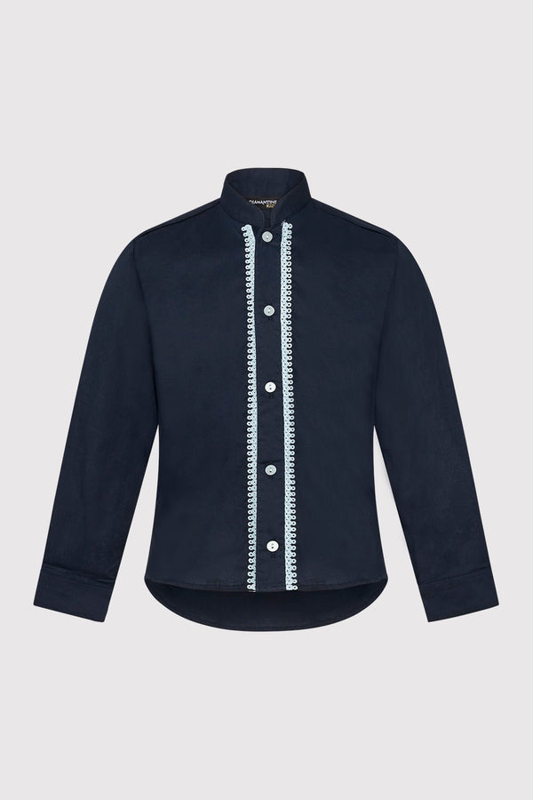 Long Sleeve Button-Up Boy's Shirt with Contrast Stitching in Navy Blue (2-12yrs)