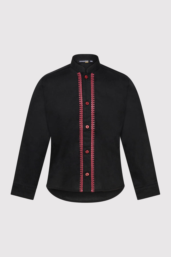 Long Sleeve Button-Up Boy's Shirt with Contrast Stitching in Black (2-12yrs)