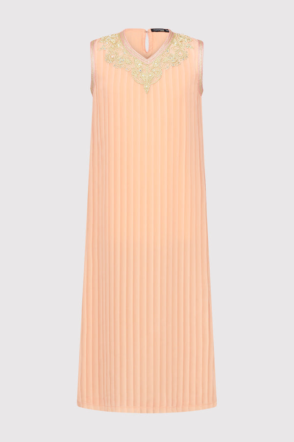 Kaftan Naghma Girl's Sleeveless V-Neck Ribbed Long Dress in Coral (2-12yrs)