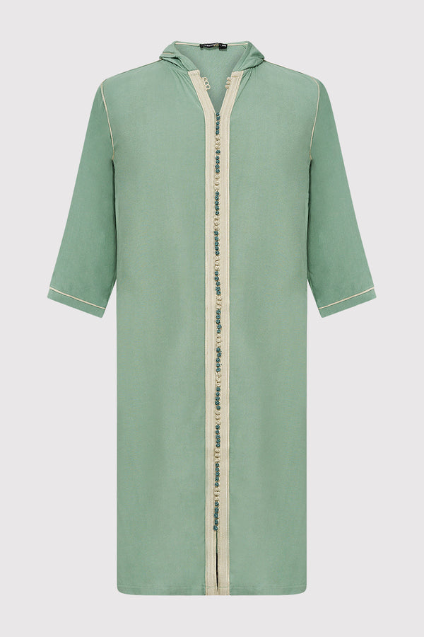 Djellaba Jad Boy's Hooded Long Sleeve Full-Length Robe Thobe in Green (2-12yrs)