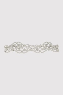 Lina Metallic Braided Rope Waist Belt in Silver