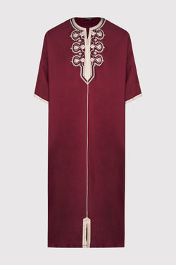 Gandoura Ihab Short Sleeve Embroidered Men's Long Robe Thobe in Burgundy