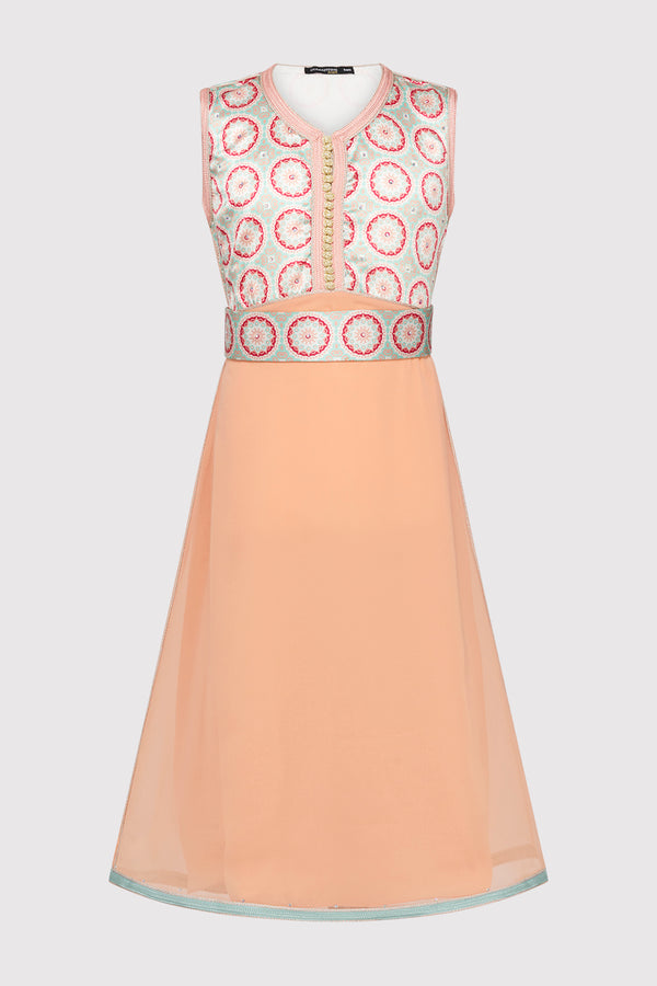 Kaftan Afsana Girl's Occasion Wear Party Dress and Waist Belt in Coral and Salmon (2-12yrs)