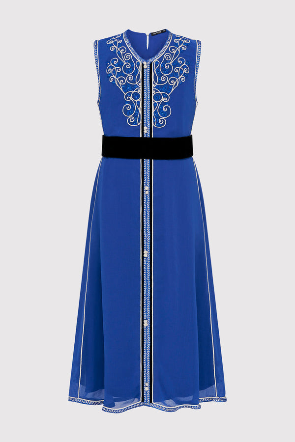 Kaftan Aryame Girl's Sleeveless Occasion Wear Party Dress and Waist Belt in Blue (2-12yrs)