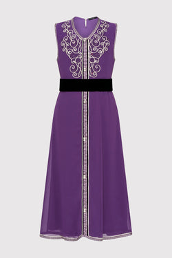 Kaftan Aryame Girl's Sleeveless Occasion Wear Party Dress and Waist Belt in Purple (2-12yrs)