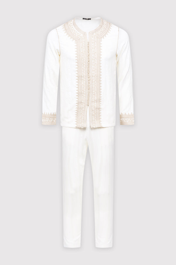 Jabador Nouh Embroidered Collarless Long Sleeve Tunic Top and Trousers Men's Co-Ord Set in Striped White