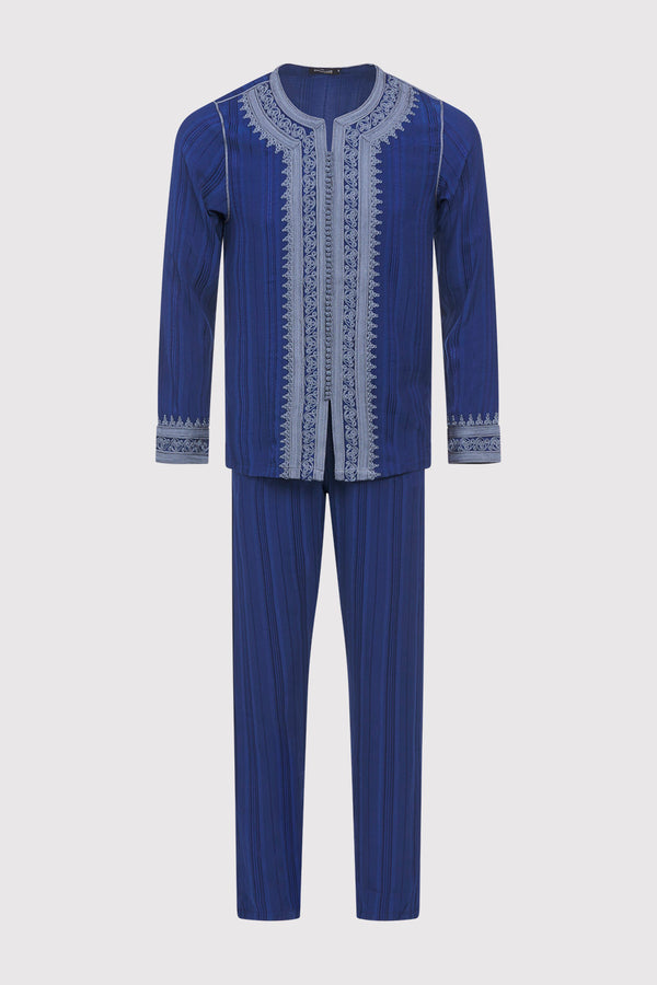 Jabador Nouh Embroidered Collarless Long Sleeve Tunic Top and Trousers Men's Co-Ord Set in Striped Marine