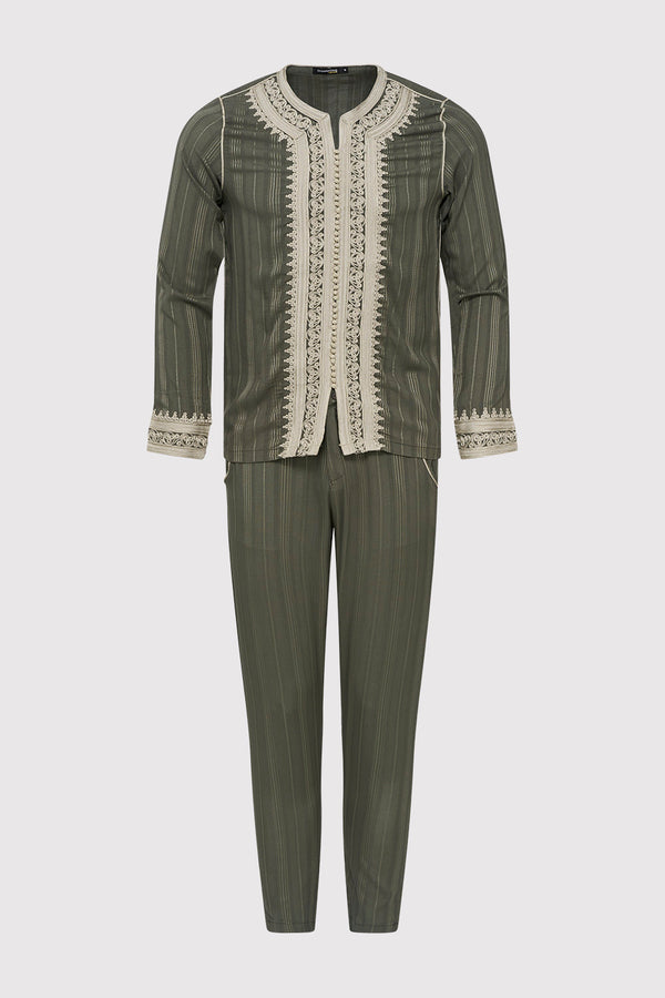 Jabador Nouh Embroidered Collarless Long Sleeve Tunic Top and Trousers Men's Co-Ord Set in Striped Green