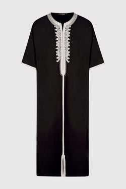Gandoura Hamza Embroidered Short Sleeve Men's Long Robe Thobe in Black
