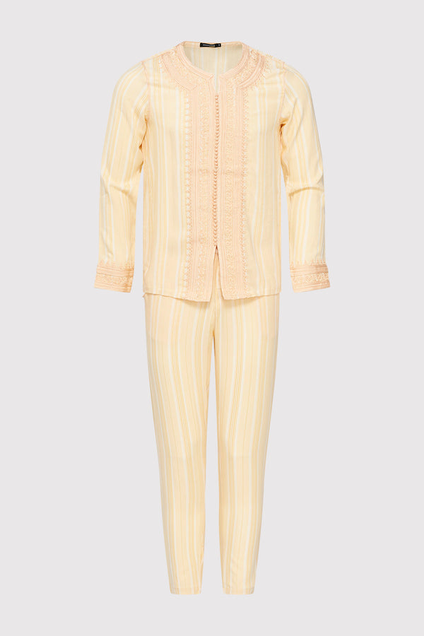 Jabador Nouh Embroidered Collarless Long Sleeve Tunic Top and Trousers Men's Co-Ord Set in Striped Beige