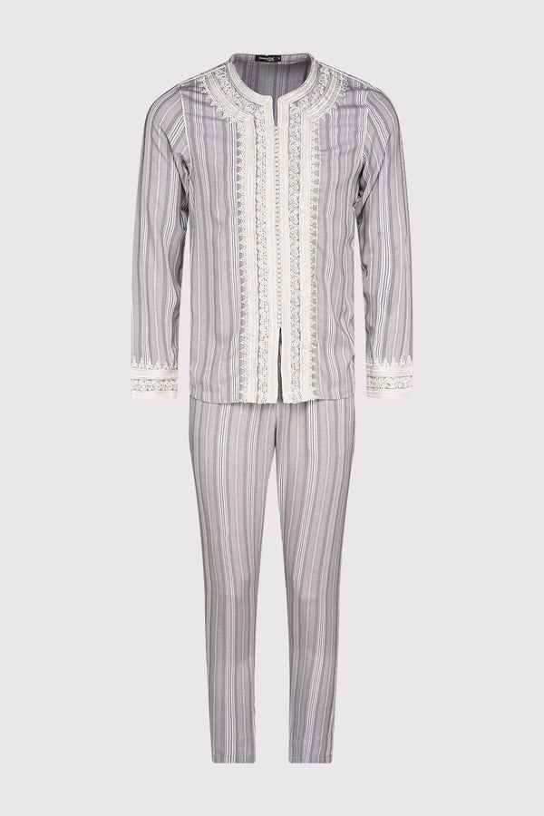 Jabador Nouh Embroidered Collarless Long Sleeve Tunic Top and Trousers Men's Co-Ord Set in Striped Grey