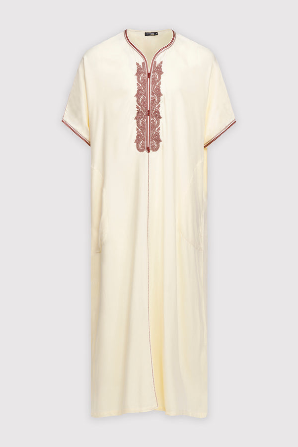 Gandoura Anwar Men's Long Robe Short Sleeve Casual Thobe in White