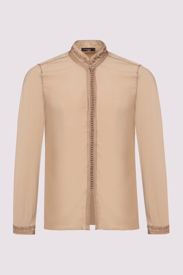 Firass Long Sleeve Men's Button-Up Embroidered Tunic Shirt in Beige
