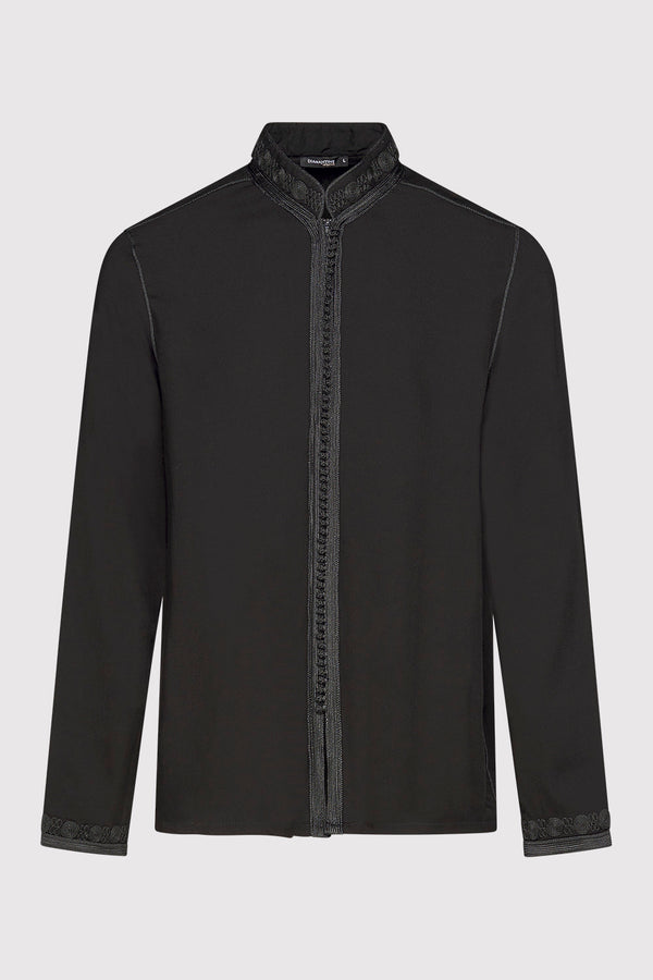 Firass Long Sleeve Men's Button-Up Embroidered Tunic Shirt in Black