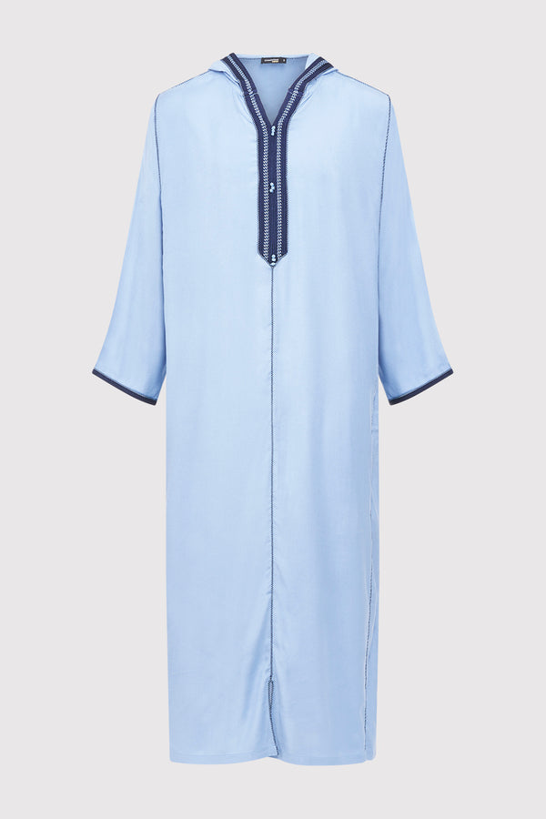 Djellaba Wael Men's Long Sleeve Full-Length Embroidered Hooded Robe Thobe in Blue