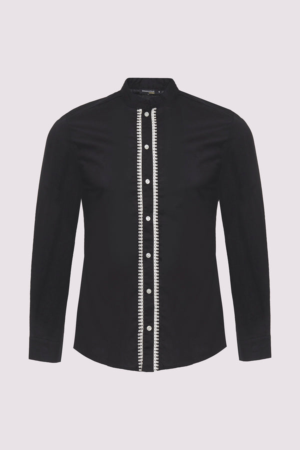 Ayman Long Sleeve Stand Up Collar Men's Button-Up Shirt in Black