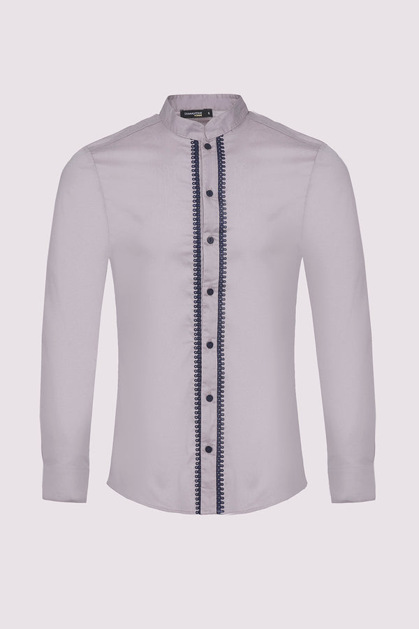 Ayman Long Sleeve Stand Up Collar Men's Button-Up Shirt in Grey