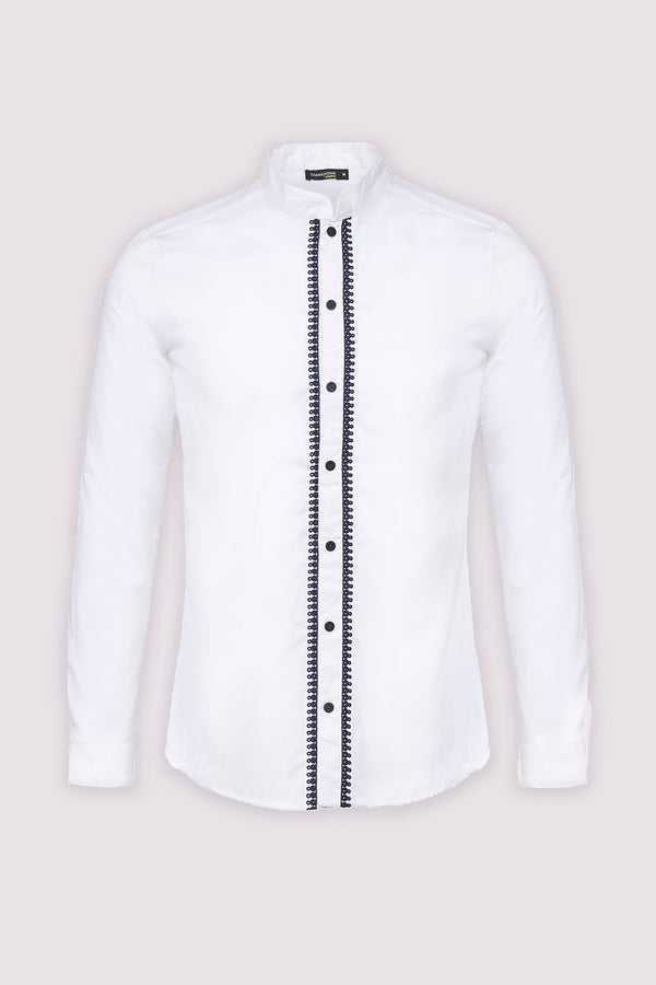 Ayman Long Sleeve Stand Up Collar Men's Button-Up Shirt in White