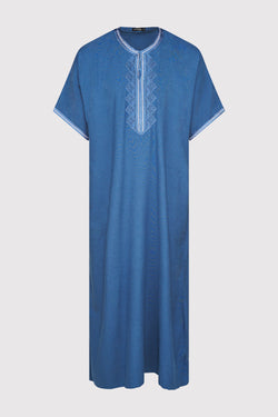Gandoura Hassan Men's Short Sleeve Full-length Embroidered Robe Casual Thobe in Blue