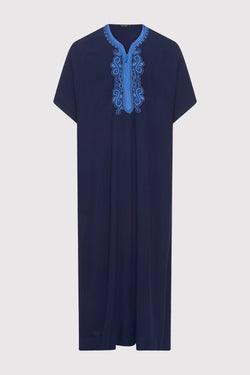 Gandoura Haitham Men's Short Sleeve Full-Length Embroidered Robe Casual Thobe in Dark Blue