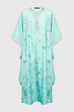 Gandoura Dara Girl's Short Sleeve Collarless Butterfly Print Maxi Dress in Light Green (2-12yrs)