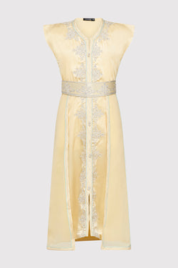 Kaftan Radia Girl's Embroidered Occasion Wear Party Sleeveless Dress and Waist Belt in Satin Yellow (2-12yrs)