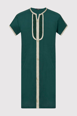 Gandoura Sami Boy's Contrast Trim Short Sleeve Long Robe Thobe in Green (2-12yrs)