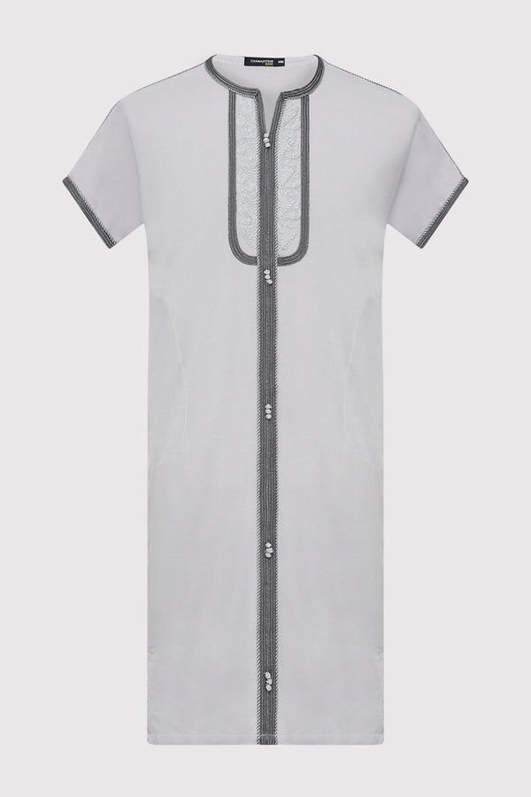 Gandoura Sami Boy's Contrast Trim Short Sleeve Long Robe Thobe in Grey (2-12yrs)